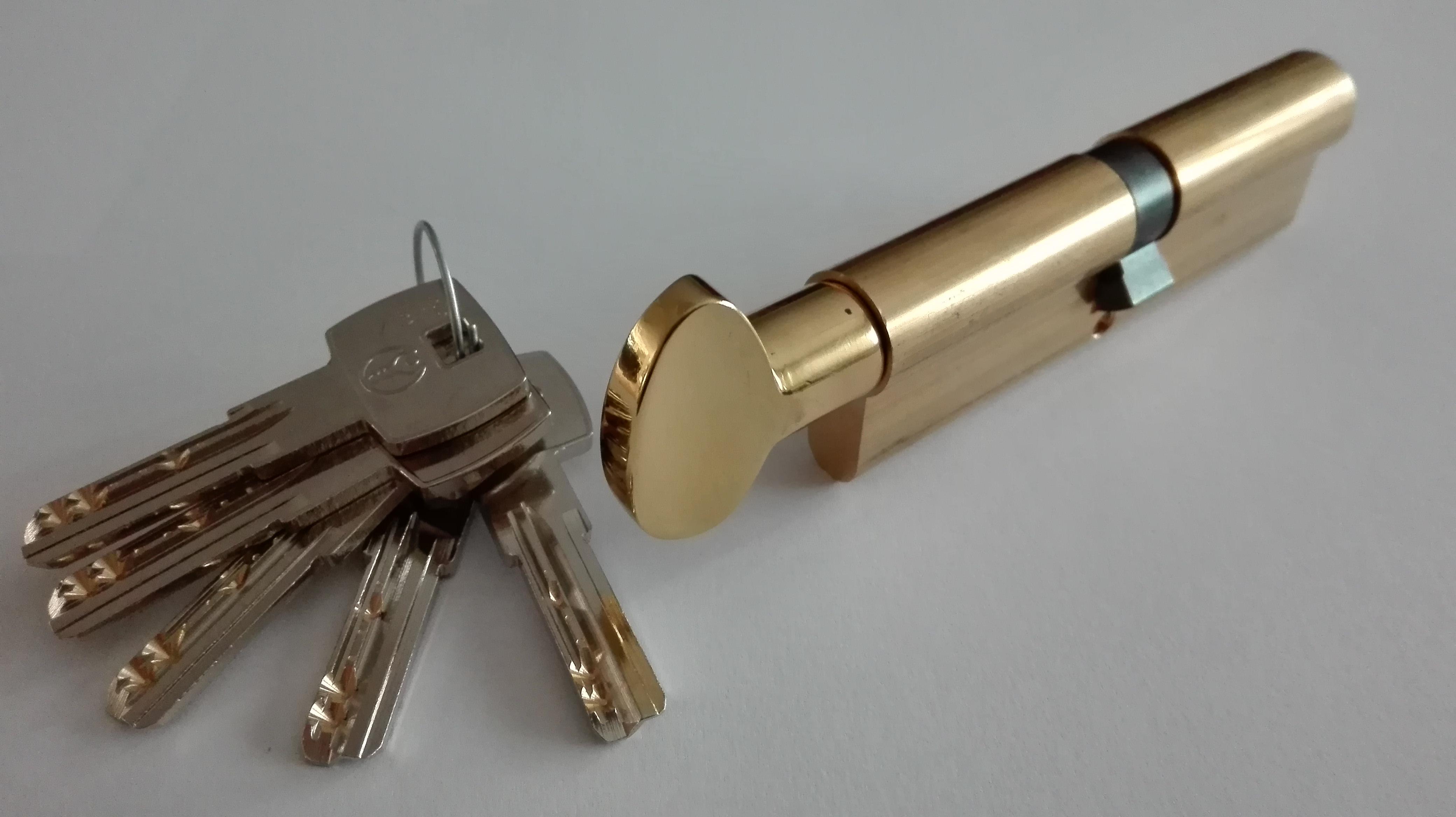 cilindri di sicurezza con pomolo finitura ottone